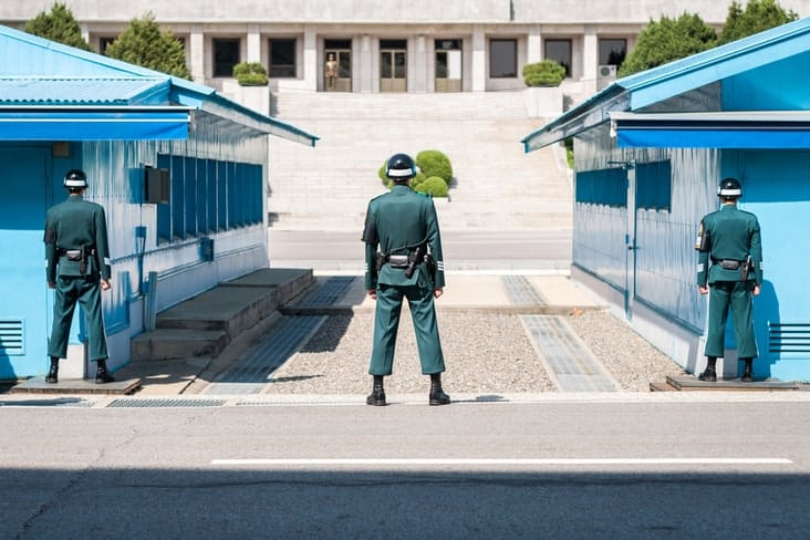 Soldiers at the Demilitarized Zone (DMZ) in North Korea
