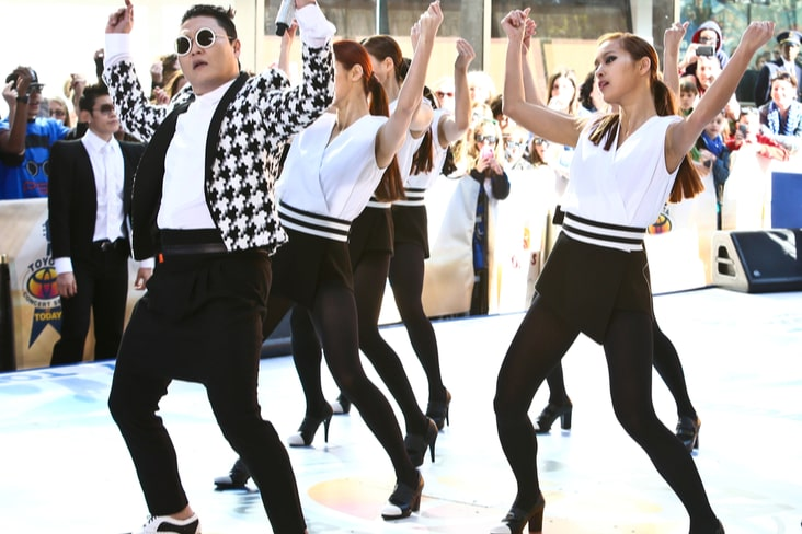 South Korean K-pop star Psy performing Gangnam Style