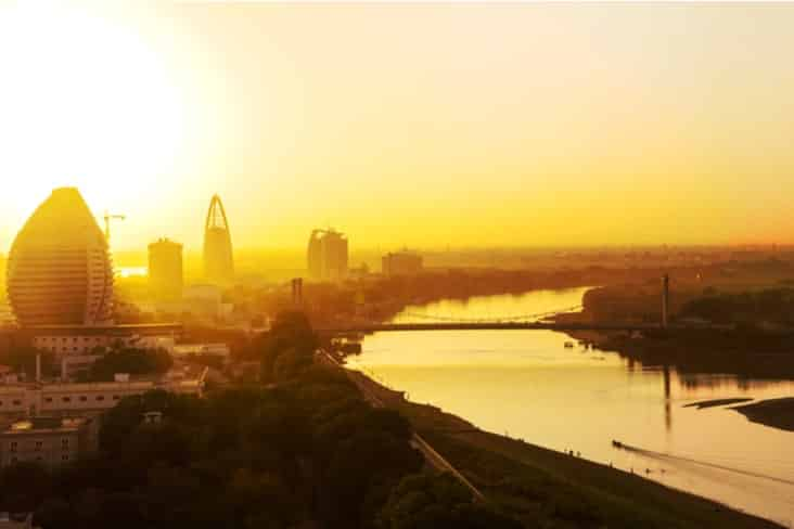 Khartoum in Sudan at sunset