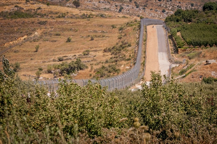 A security fence in the Israeli-occupied area