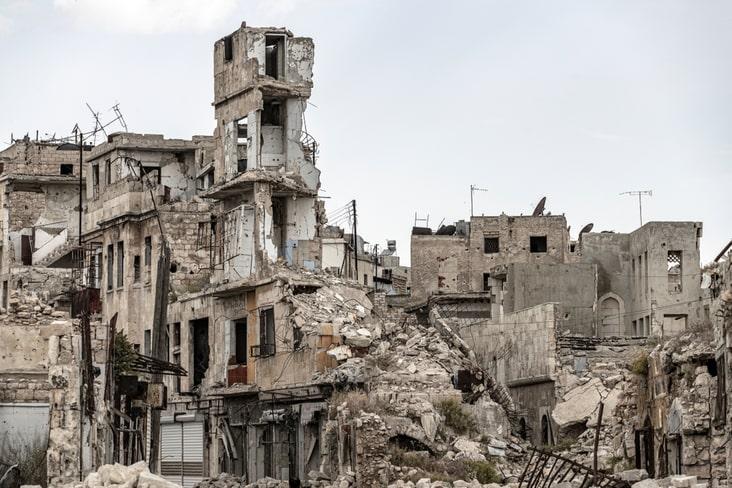 A war-damaged building