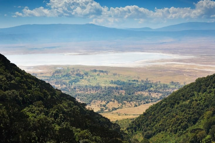 Elevated view of the Ngorongoro Crater