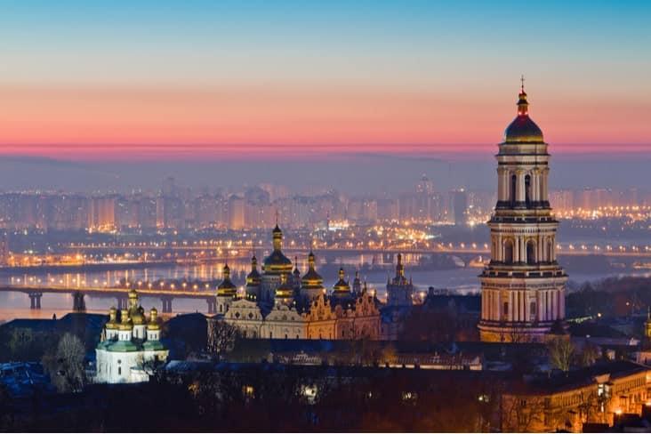 Kyiv, the capital of Ukraine, at night