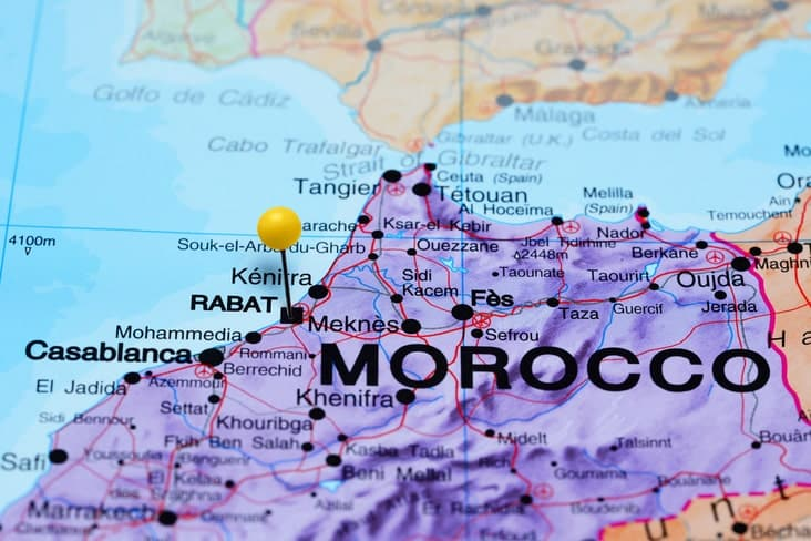 A map of Morocco showing its proximity to Spain