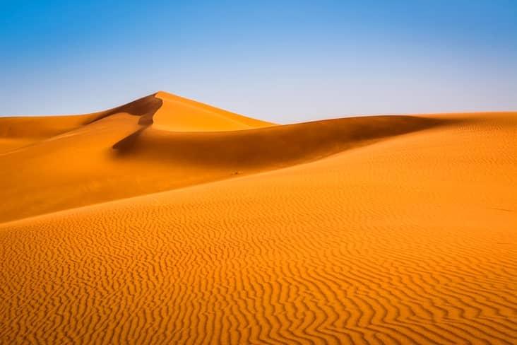 Sand dunes in the Sahara, near Merzouga, Morocco