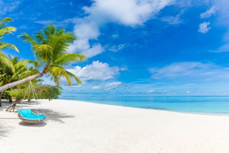 A sandy beach in the Maldives