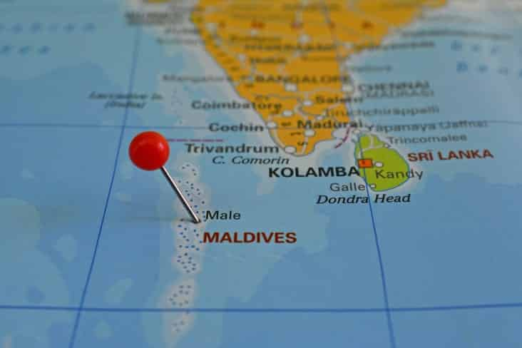 A map of the Maldives showing Sri Lanka and Southern India